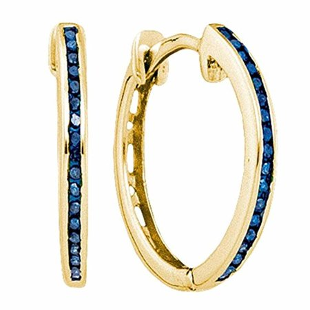 Roy Rose Jewelry 10K Yellow Gold Womens Round Blue Color Enhanced Diamond Hoop Earrings 1/10-Carat tw