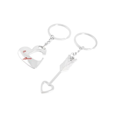 Arrow Key (Silver Tone Arrow Heart Pendant Key Chains Pair for Lovers )