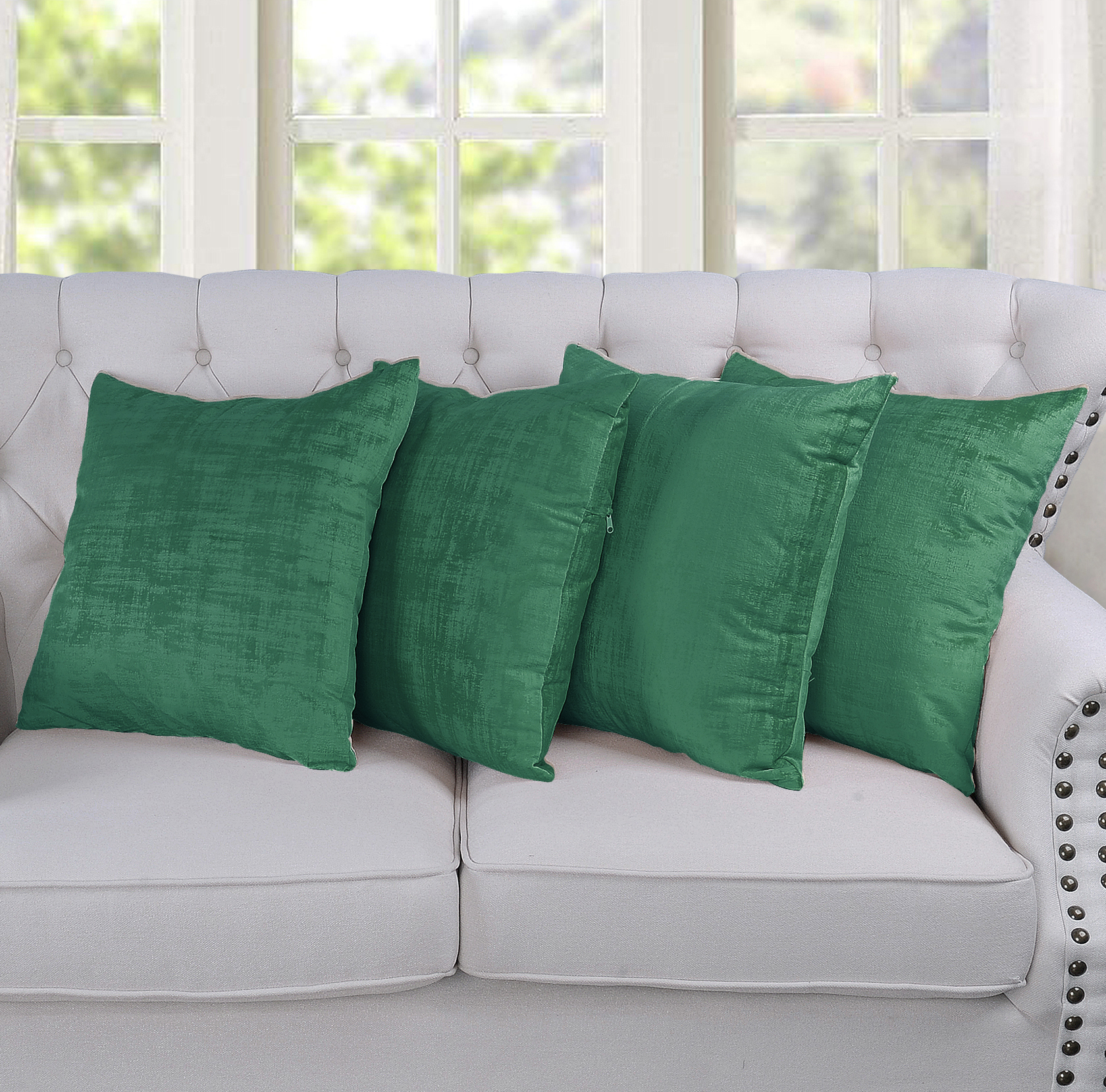 Serenta Textured Velvet 4 Piece Pillow Shell Set