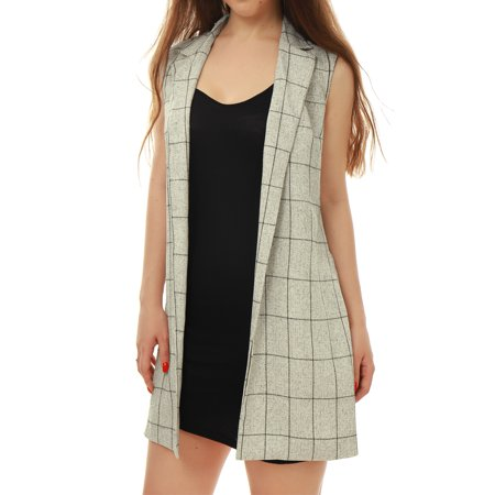 Image of Allegra K Women's Open Front Textured Plaids Tunic Vest Gray (Size XL / 16)