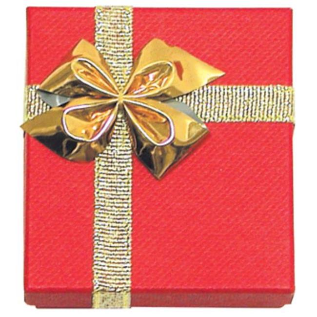 Bulk Buys Bow Tie Pendant-Earring Box - Red & Gold - Case of 12