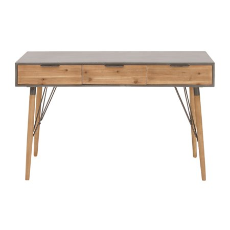 Decmode 30 X 48 Inch Modern Cypress Wood and Iron Rectangular Console Table With Drawers, Brown ()