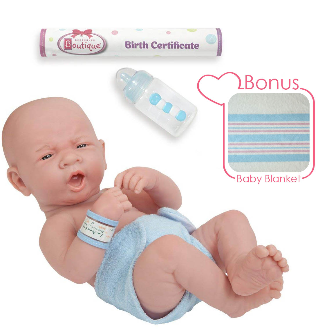 "JC Toys 14"" Soft Vinyl Realistic La Newborn Doll in Diaper w/ Bottle. Anatomically Correct REAL BOY!"
