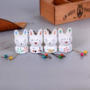 - Fancyleo 2 Pcs Chinese Style Porcelain Handicrafts Ceramic Cute Rabbit Wind Bell Home Living Room TV Cabinet Decorations Ornaments Lucky Dolls Wedding Gifts