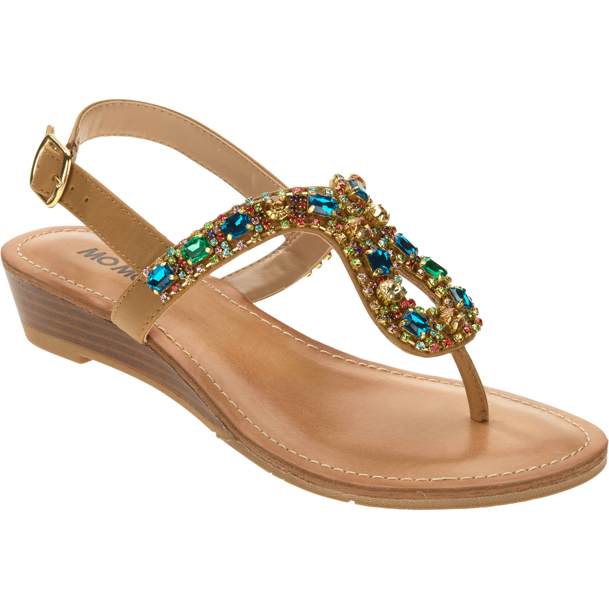 Mo Mo Women's Tammy Jeweled T-strap Sand