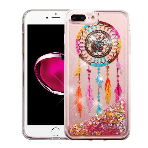 For Apple iPhone 8 Plus, 7 Plus, 6S 6 Plus Case - Wydan Slim Hybrid Liquid Bling Glitter Sparkle Quicksand Waterfall Shockproof TPU Phone Cover Dreamcatcher - Gold Stars