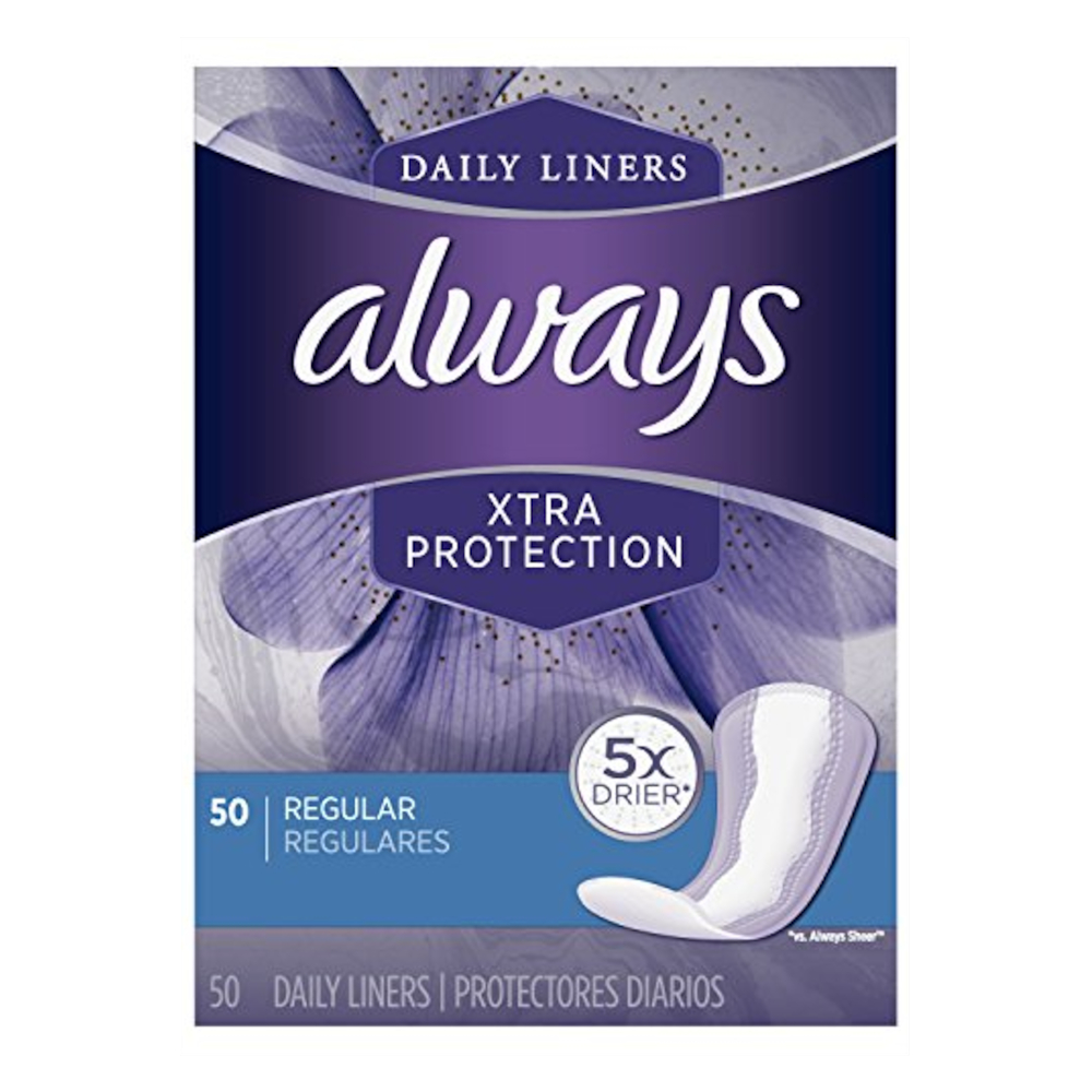 Always Xtra Protection Daily Liners, Regular, 50 Each