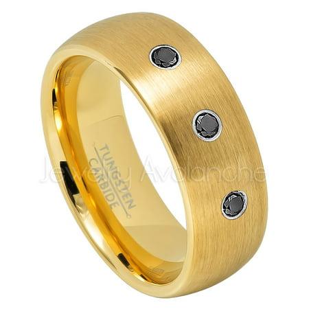 4b4c9153980b8 Yellow Gold Plated Dome Tungsten Wedding Band - 0.21ctw Black Diamond  3-stone Band - Personalized Tungsten Wedding Ring - Custom Made April  Birthstone ...