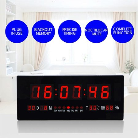 Walfront 44*19cm Oversized Atomic Digital LED Wall Clock with Day/Date, Temperature and (1333 Mhz Memory Clock)