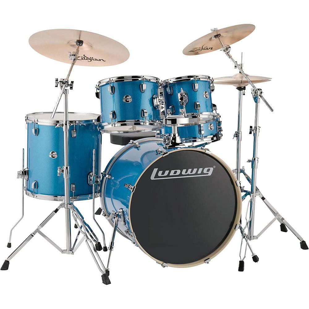 "Ludwig LCEE22023 Element Evolution 22"" Bass Drum 5-Piece Drum Set w/ Hardware & Cymbals - Blue Sparkle"
