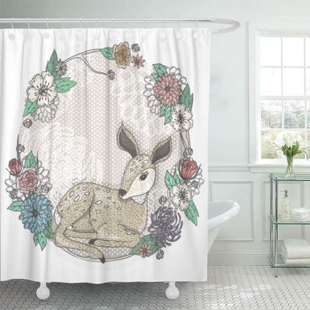 PKNMT Animal Cute Baby Deer and Flowers Cartoon Dot Floral Vintage Beautiful Blossom Waterproof Bathroom Shower Curtains Set 66x72 inch - Dot Flowers