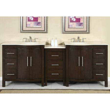 Silkroad Exclusive Stone Counter Top Double Sink Cabinet Bathroom - Silkroad bathroom vanities
