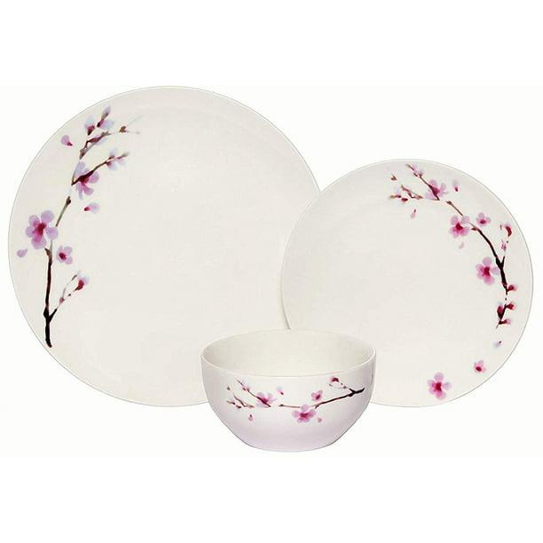 Melange Coupe 18 Piece Porcelain Dinner Set Pink Zen Service For 6 Microwave Dishwasher Oven Safe Dinner Plate Salad Plate Soup Bowl 6 Each By Melange 18 Piece Service For 6 Walmart Com Walmart Com