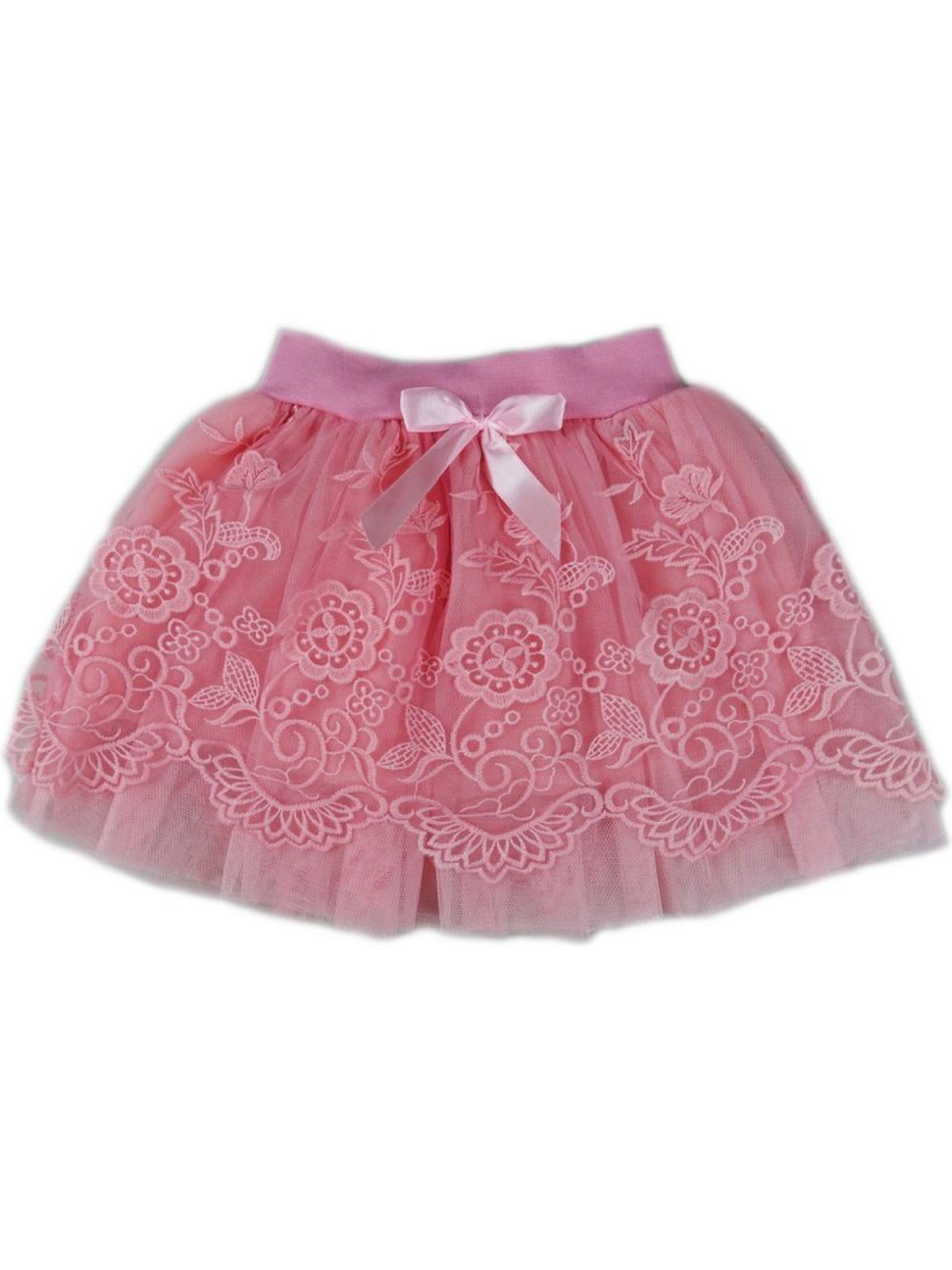 Wenchoice Girls Coral Floral Print Lace Ruffled Tutu Skirt