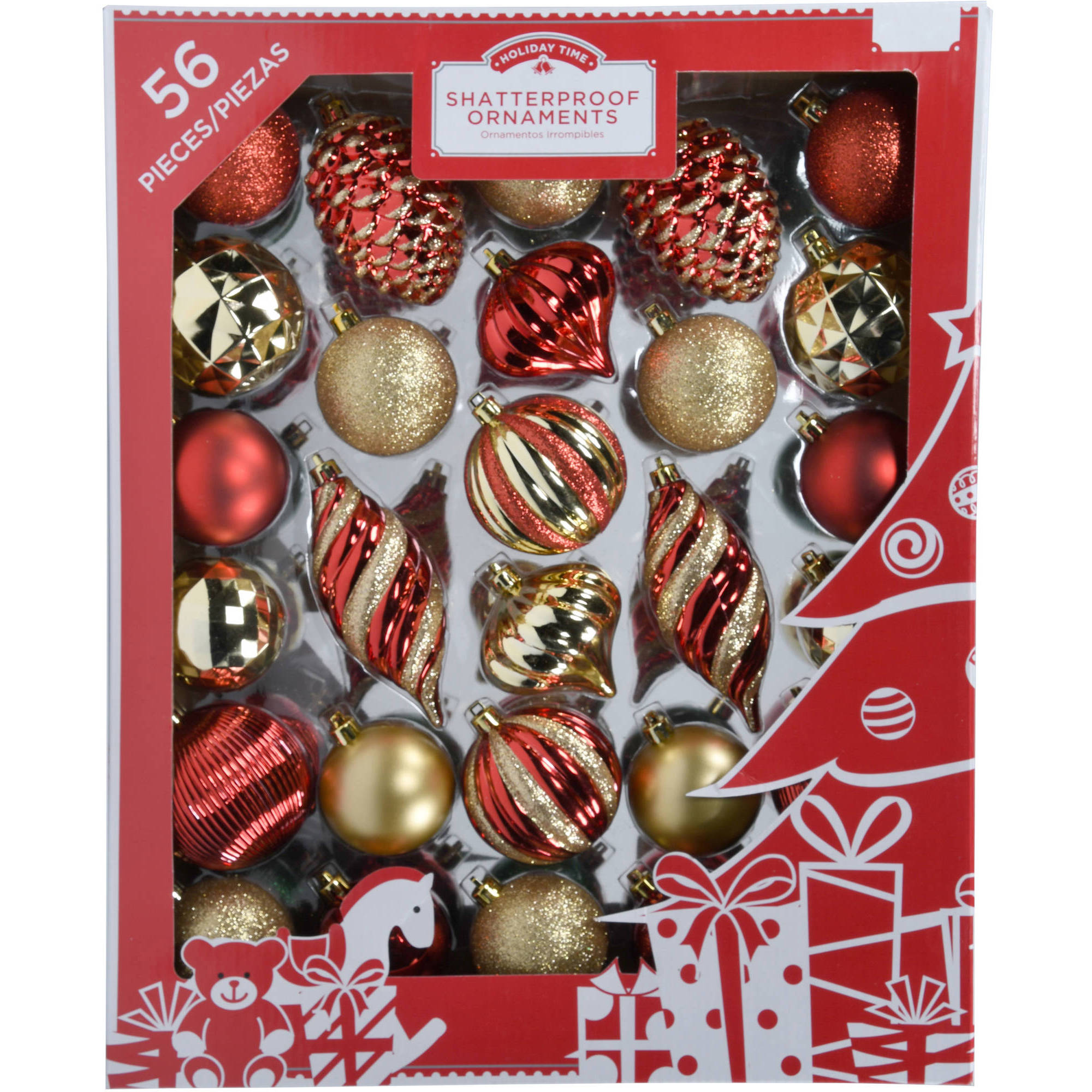 Holiday Time 60mm Christmas Ornaments Traditional Shatterproof, Set of 56
