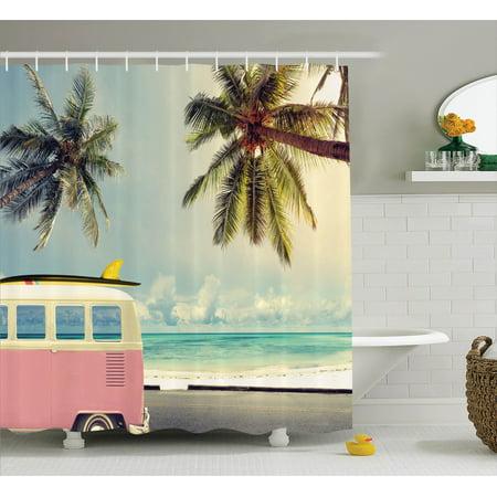 Surf Decor Shower Curtain Set Minivan On The Beach Retro
