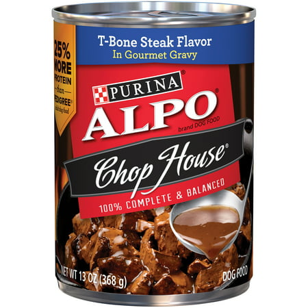 Purina Alpo Chop House T Bone Steak Flavor Canned Dog Food  13 Oz