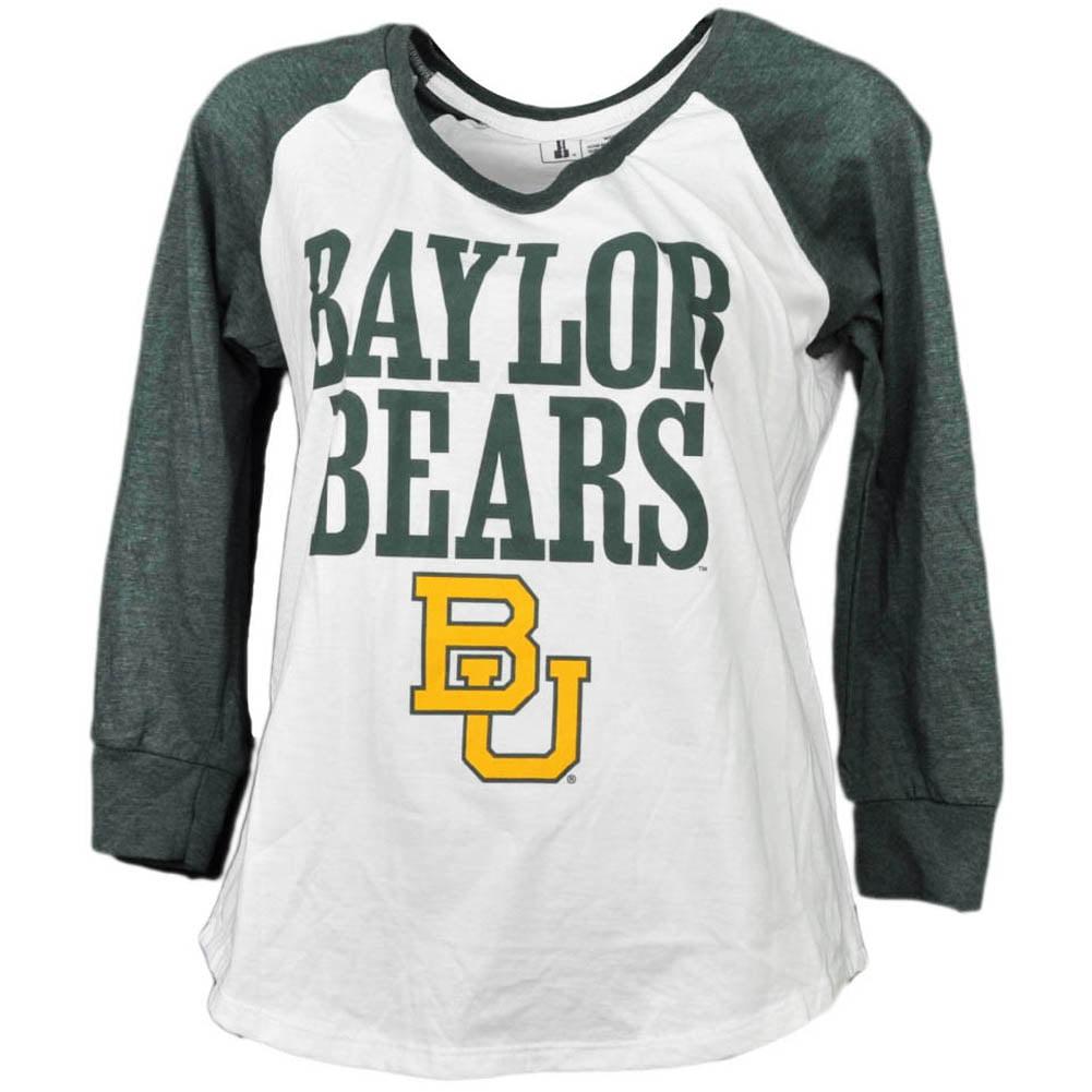 NCAA Baylor Bears Mid Sleeve Tshirt Tee Womens White Green Crew Neck Sports XS