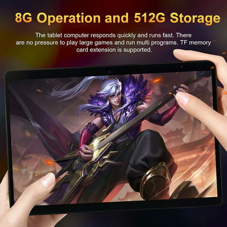 10.1inch 8G+512G WiFi Tablet Android 8.0 HD 1960 x 1080 Bluetooth Game Tablet Computer With Dual Camera Support Dual SIM Card And Dual Standby Rose Gold - image 1 of 9