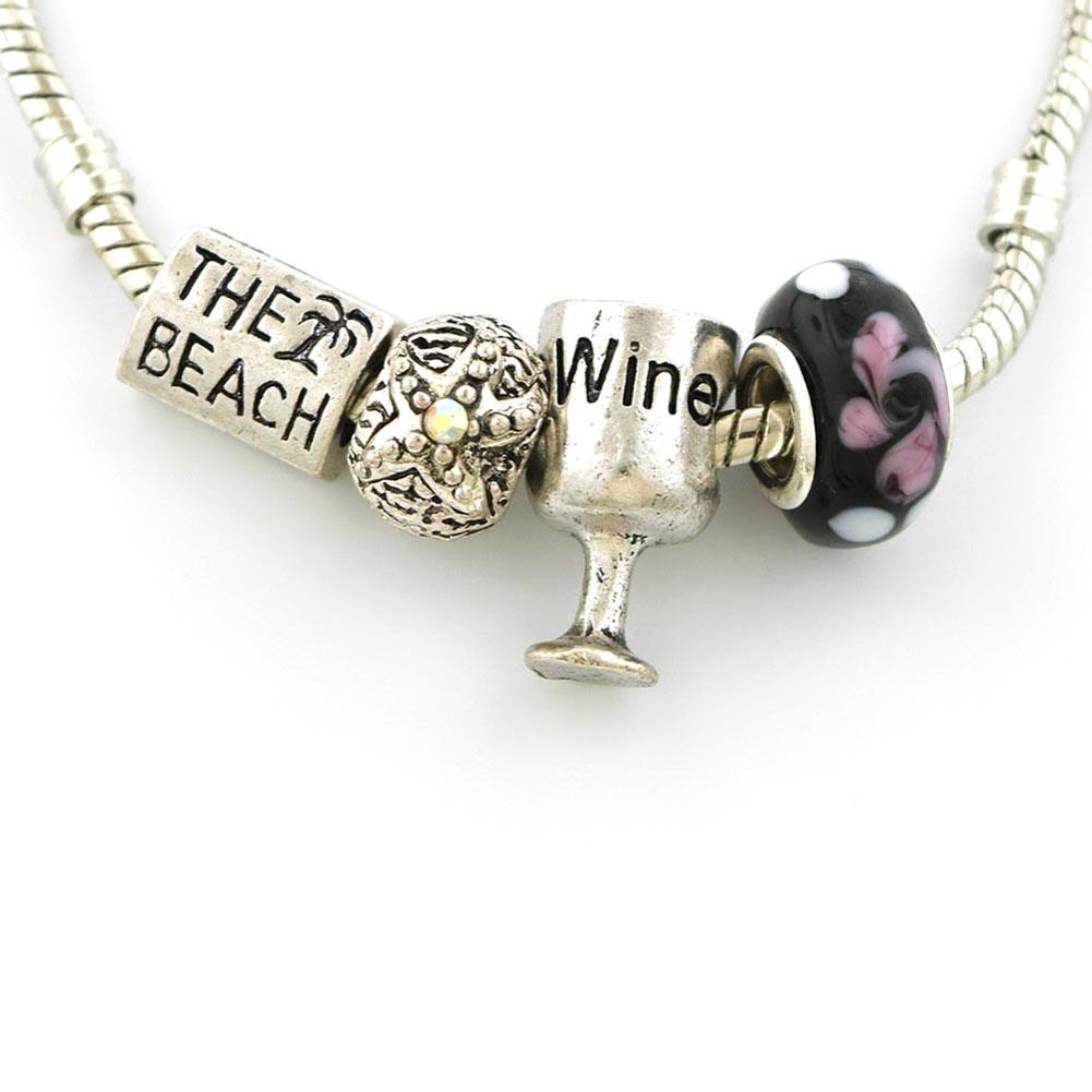 Set Of Four 4 Beach Theme Beads With Beach Palm Tree Starfish Wine