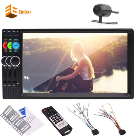 EinCar 7 Inch Capacitive Touch Screen Car headunit MP5 Player 2 Din  Bluetooth FM Radio Car Video USB/TF AV Input Car Stereo MP5 Player with  Rearview