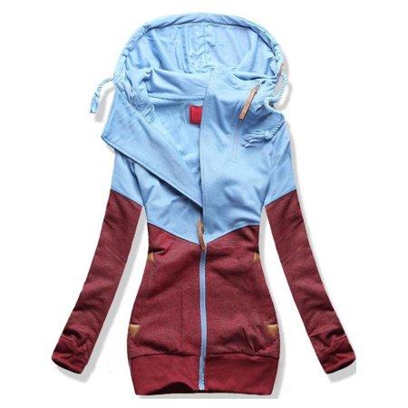 Casual Women Hoodies Sweater Pullover Hooded Sweatshirt Coat Jacket Pullover Tops Winter Warm Zip Up Outwear Long Sleeve ()