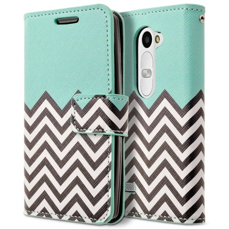 LG Leon Case, RANZ Stylish Design Deluxe PU Leather Folio Flip Book Wallet Pouch Case Cover (Teal Waves) For LG Leon LTE C40/ Tribute 2 (LS665)/ Destiny L21G/ Power L22C/ Risio6 - Leather Boot Covers