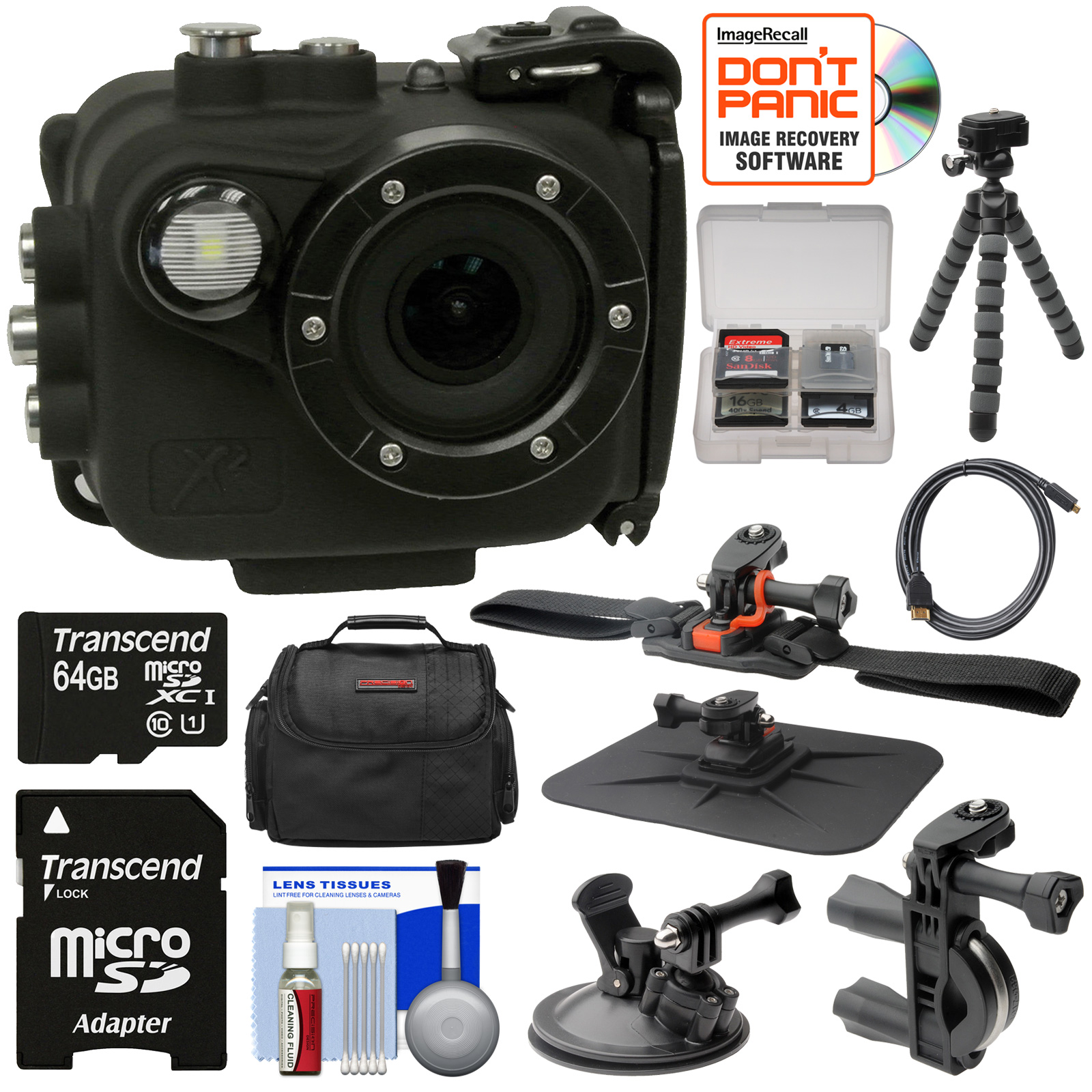 Intova X2 Marine Grade Wi-Fi HD Video Action Camera Camcorder & Video Light   64GB Card   Handlebar, Helmet, & Suction Cup Mounts   Case   Tripod Kit