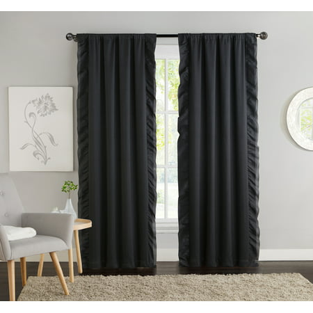 VCNY Home Amber Blackout Ruffle Trim Rod Pocket Top Window Curtain Panel - Set of Two