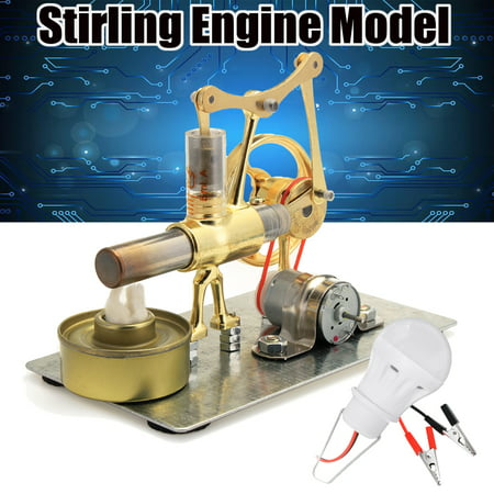 Steam Power Toy Mini Hot Air Stirling Engine Model Power Generator Motor W/ LED