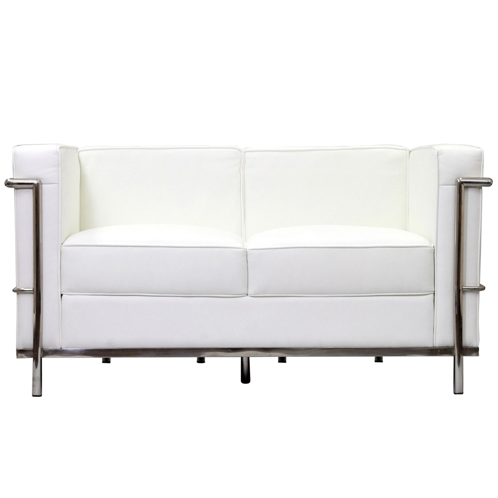 Modway LC2 Leather Loveseat with Steel Frame, Multiple Colors