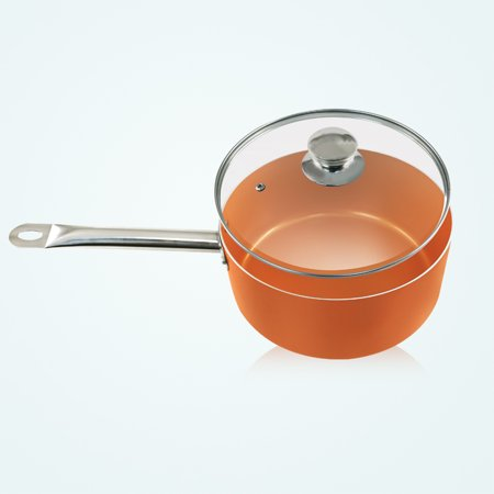 9.5 Inch Induction Based Non-Stick Copper Saucepan with Glass lid - 4.7 (9-5 Inch Non Stick Copper Ware Pan)