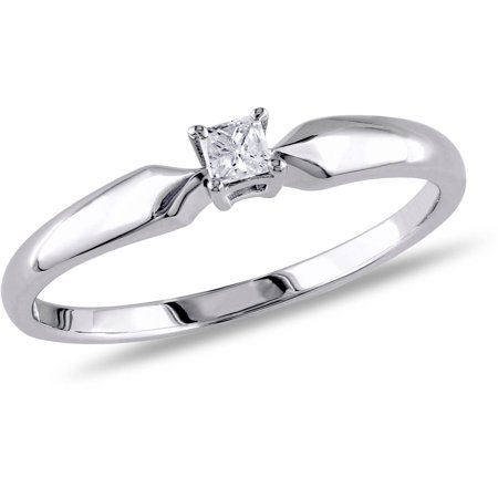 1/10 Carat T.W. Princess-Cut Diamond Sterling Silver Solitaire Ring (Diamond Incrusted Ring)