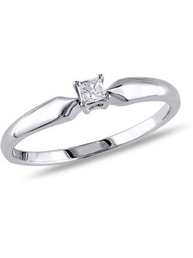 1/10 Carat T.W. Princess-Cut Diamond Sterling Silver Solitaire Ring