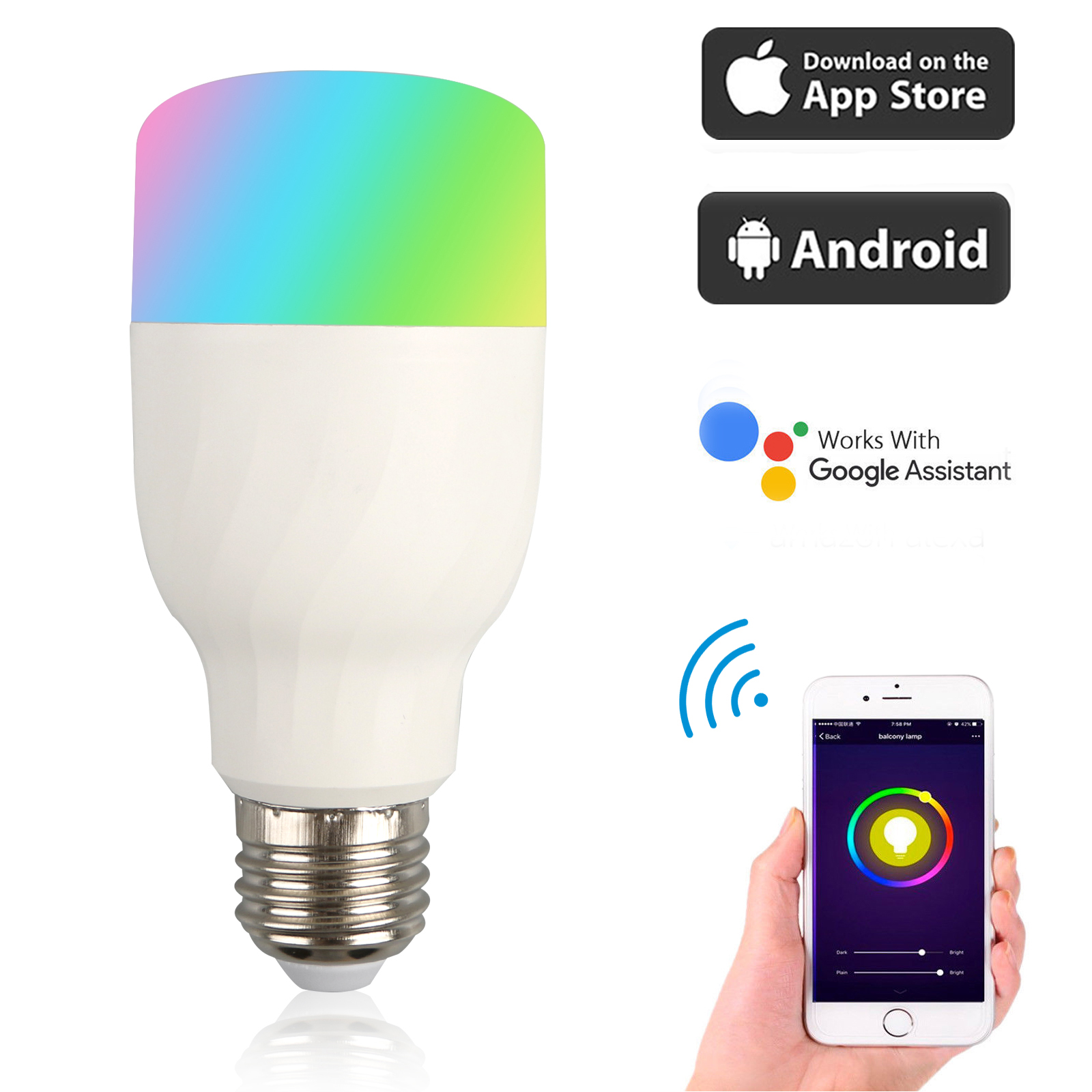 EEEKit WiFi Smart Light Bulb, (1/2-Pack) WiFi Remote Control Smart LED Bulb E27 B22 RGB Light Controled by iPhone Smartphone iOS & Android Google Assistant