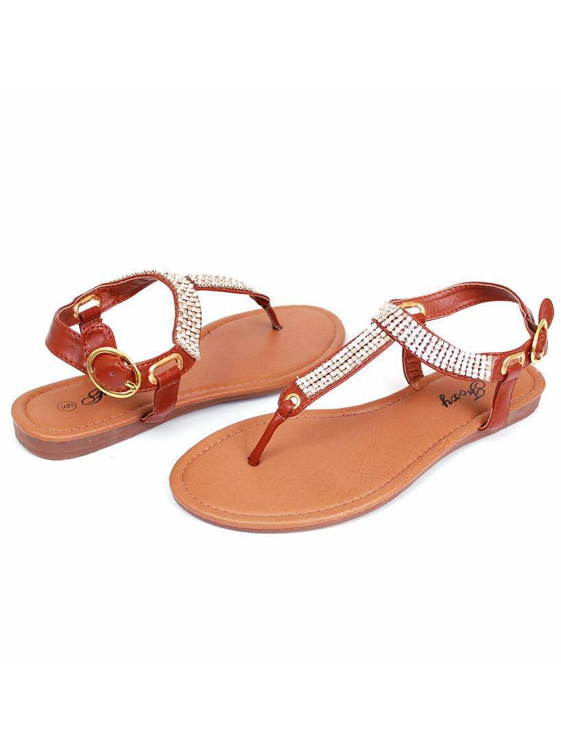 6339ee244029 Foxy - Womens Gladiator Sandals Rhinestone   Sequin Shoes Ankle Strap Roman  Flats Thong - Walmart.com