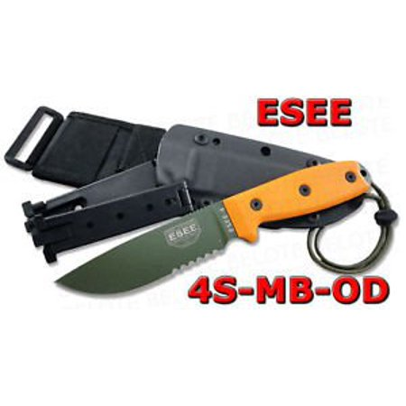 ESEE -4 Serrated Edge OD Blades with Orange G10 Handles and Black Molle