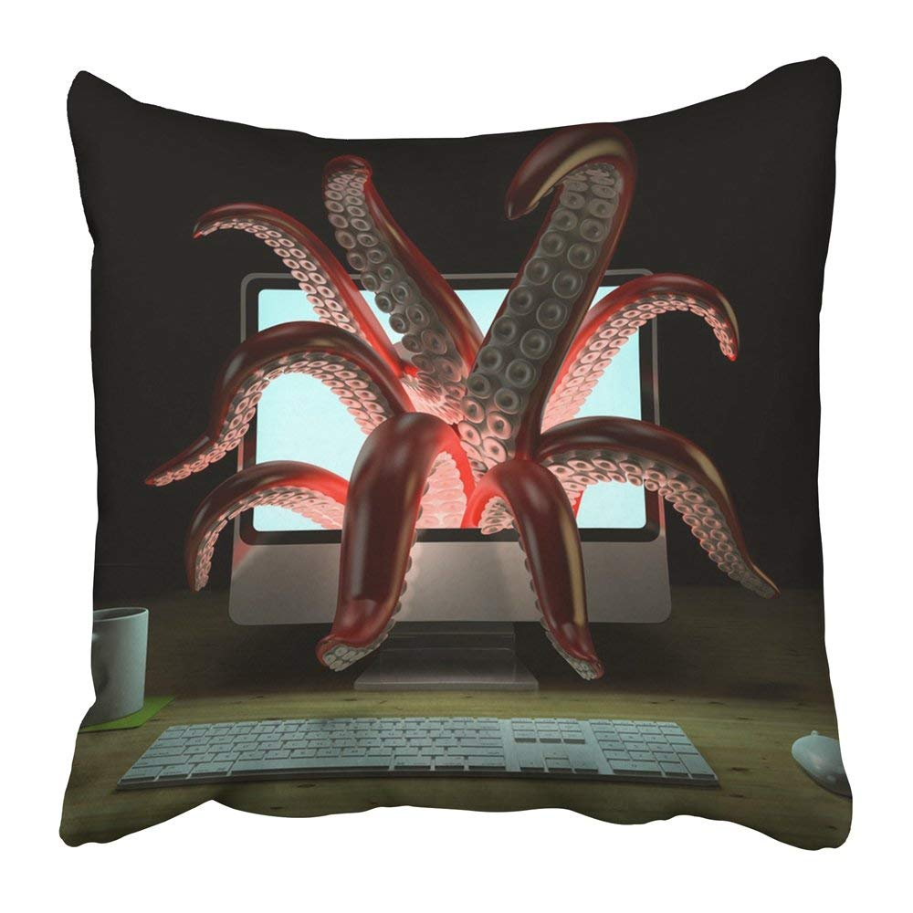 ARTJIA White Alien Red Tentacles Getting Out of the Computer Monitor 3D Rendering Kraken Laptop Monster Pillowcase 20x20 inch
