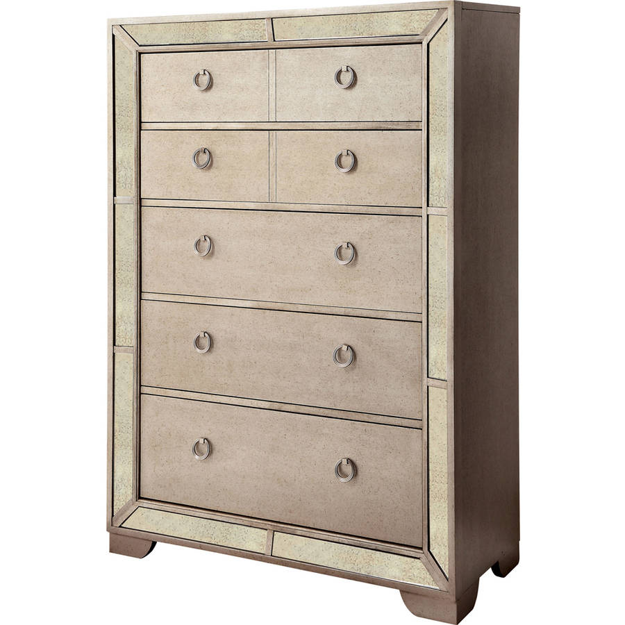 Furniture of America Maritza Mirror Panel 5-Drawer Chest, Silver