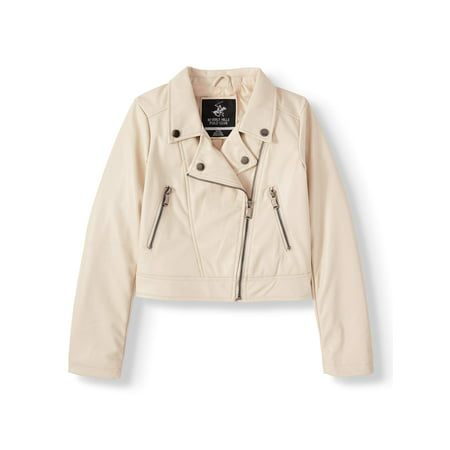 Beverly Hills Polo Club Faux Leather Moto Jacket (Big Girls) Polo Girls Hoodie Jacket