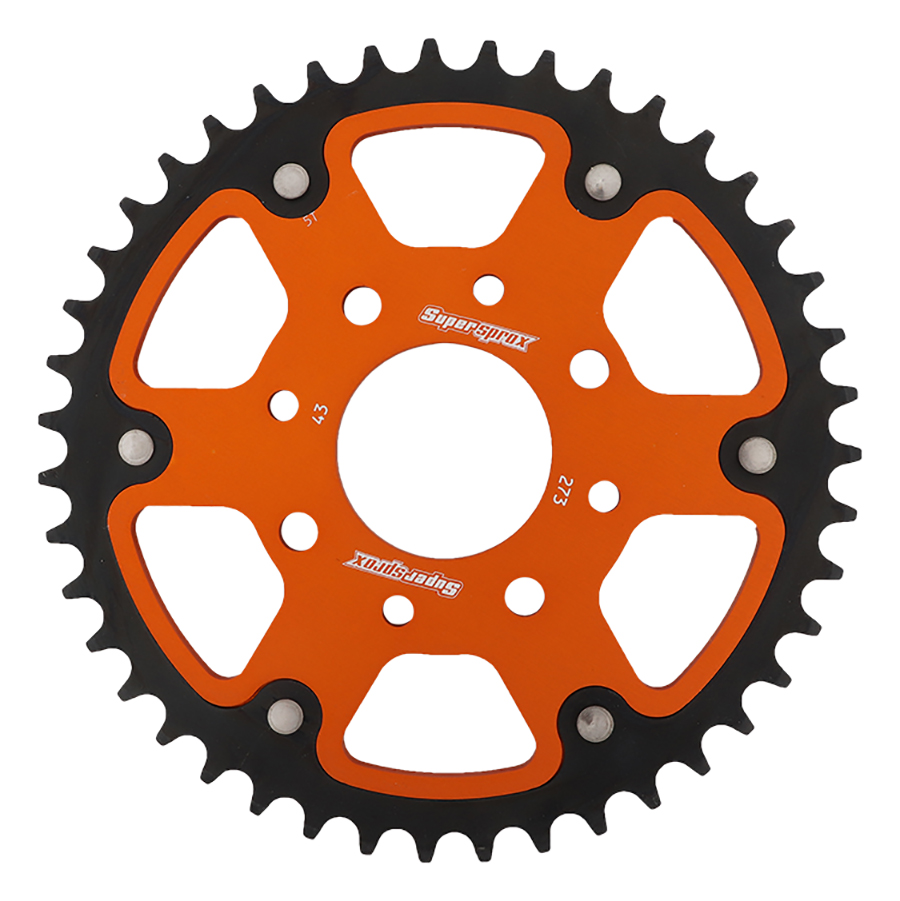 New Supersprox - Orange Stealth Sprocket, 43T, Chain Size 520, Rst-273-43-Org