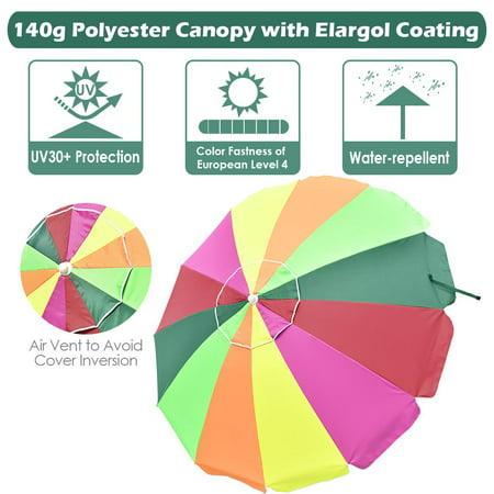 Yescom Rainbow Beach Umbrella 30+ UV Protecting  Sunshade with Tilt Button Sand Anchor and Case Outdoor