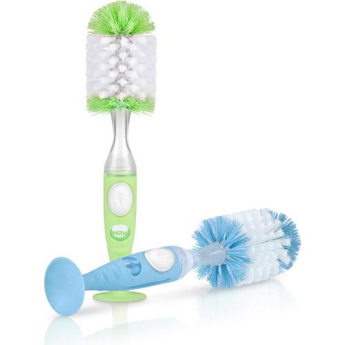 Nuby 2 Pk Soap Dispensing Bottle Brushes, Blue and Green