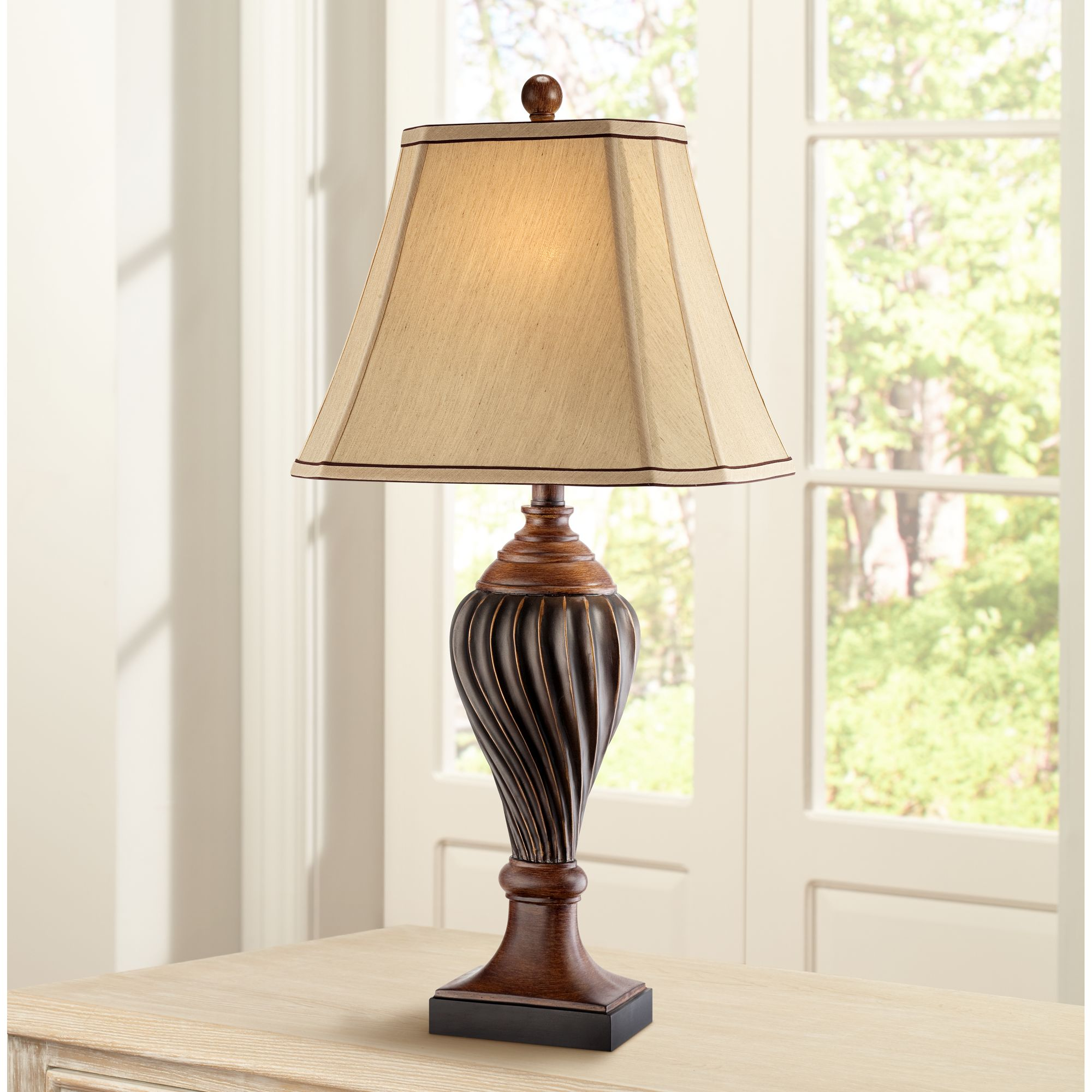 Regency Hill Traditional Table Lamp Carved Two Tone Brown Urn Shaped Beige Fabric Shade for Living Room Family Bedroom Bedside