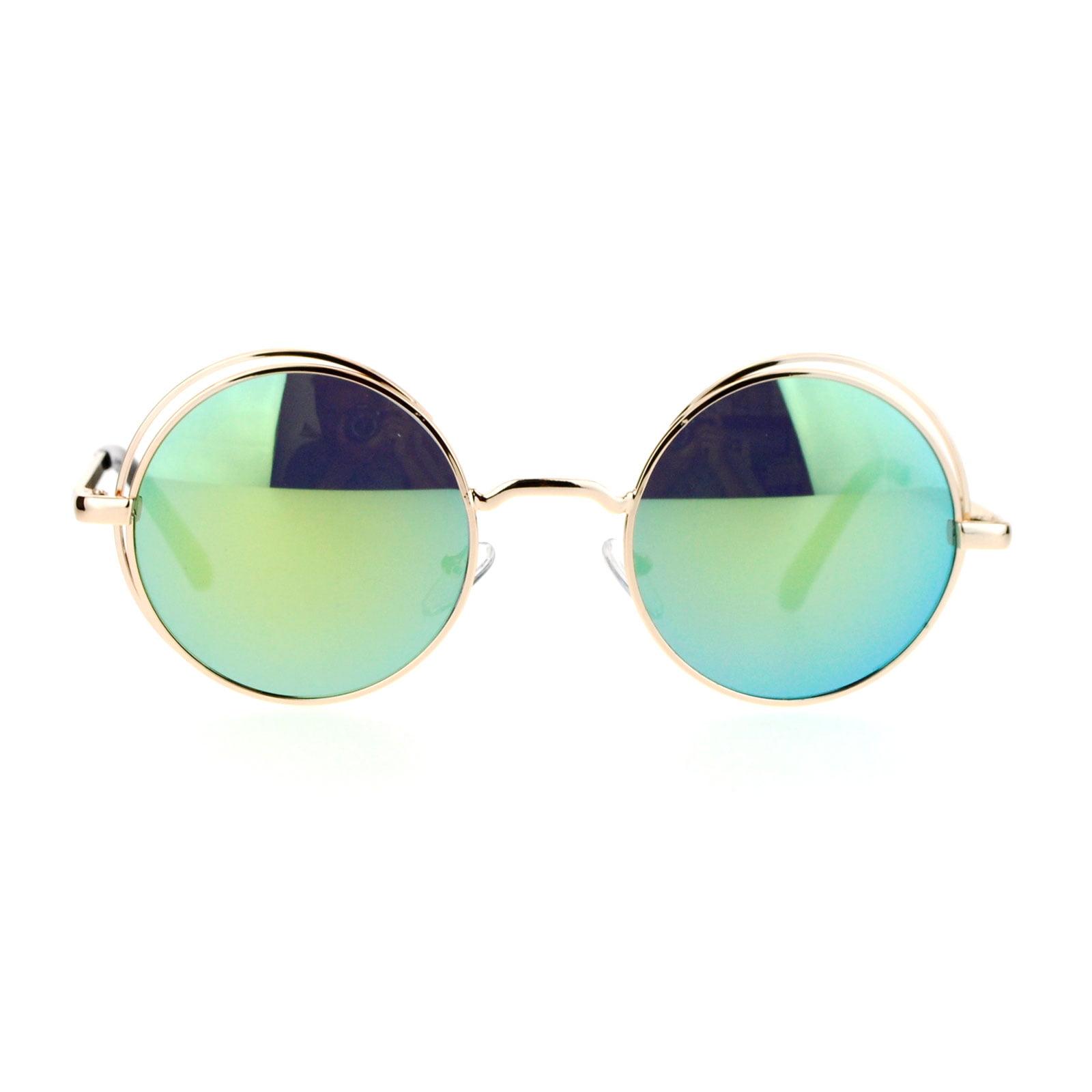 effc7bcc12d SA106 - SA106 Mirrored Mirror Round Circle Len Double Rim Sunglasses Silver  Mirror - Walmart.com