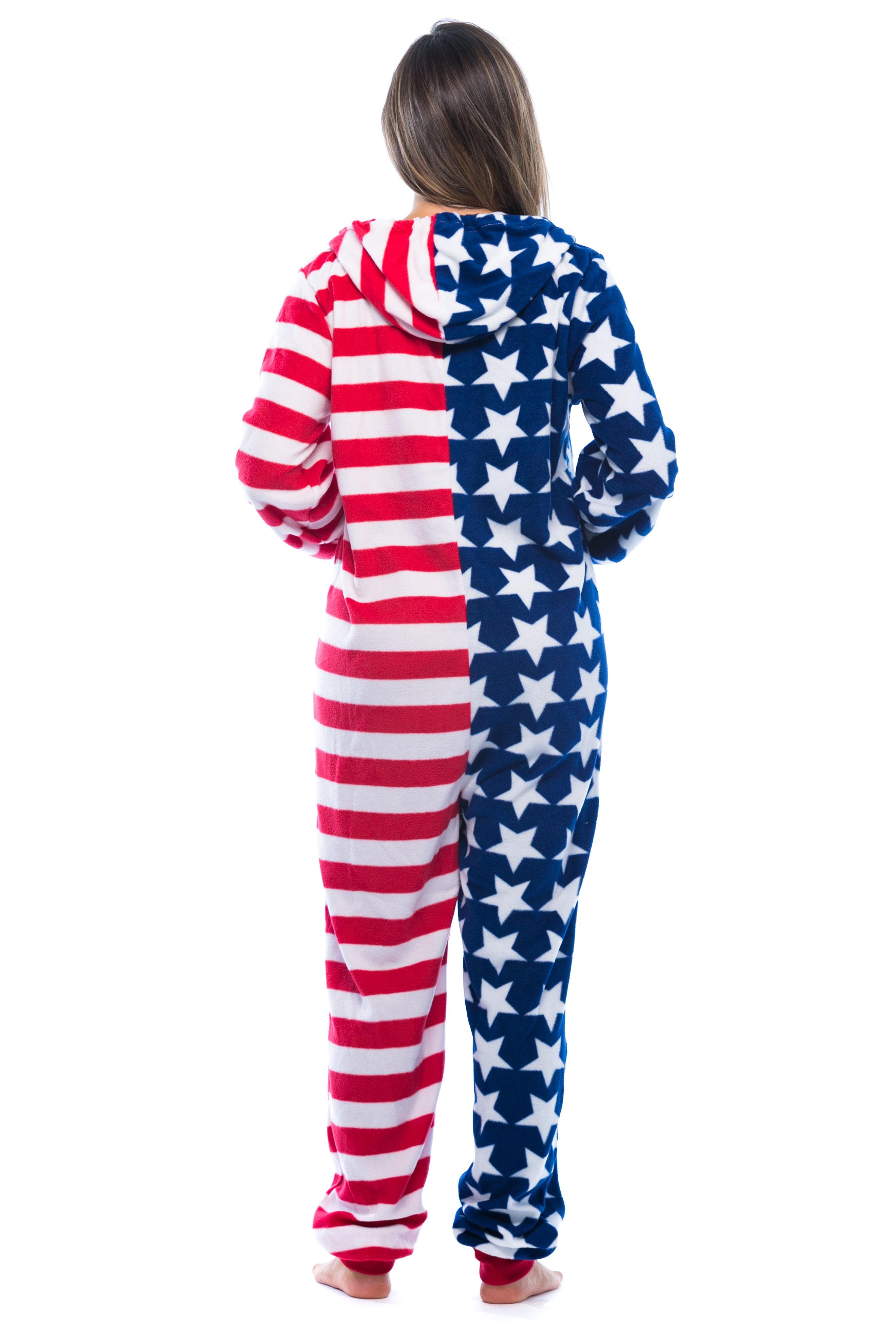 de546e82da01 FollowMe -  FollowMe American Flag Adult Onesie   Pajamas - Walmart.com