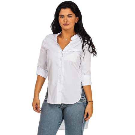 Womens juniors white classic button down high low tunic for Womens white button down shirt