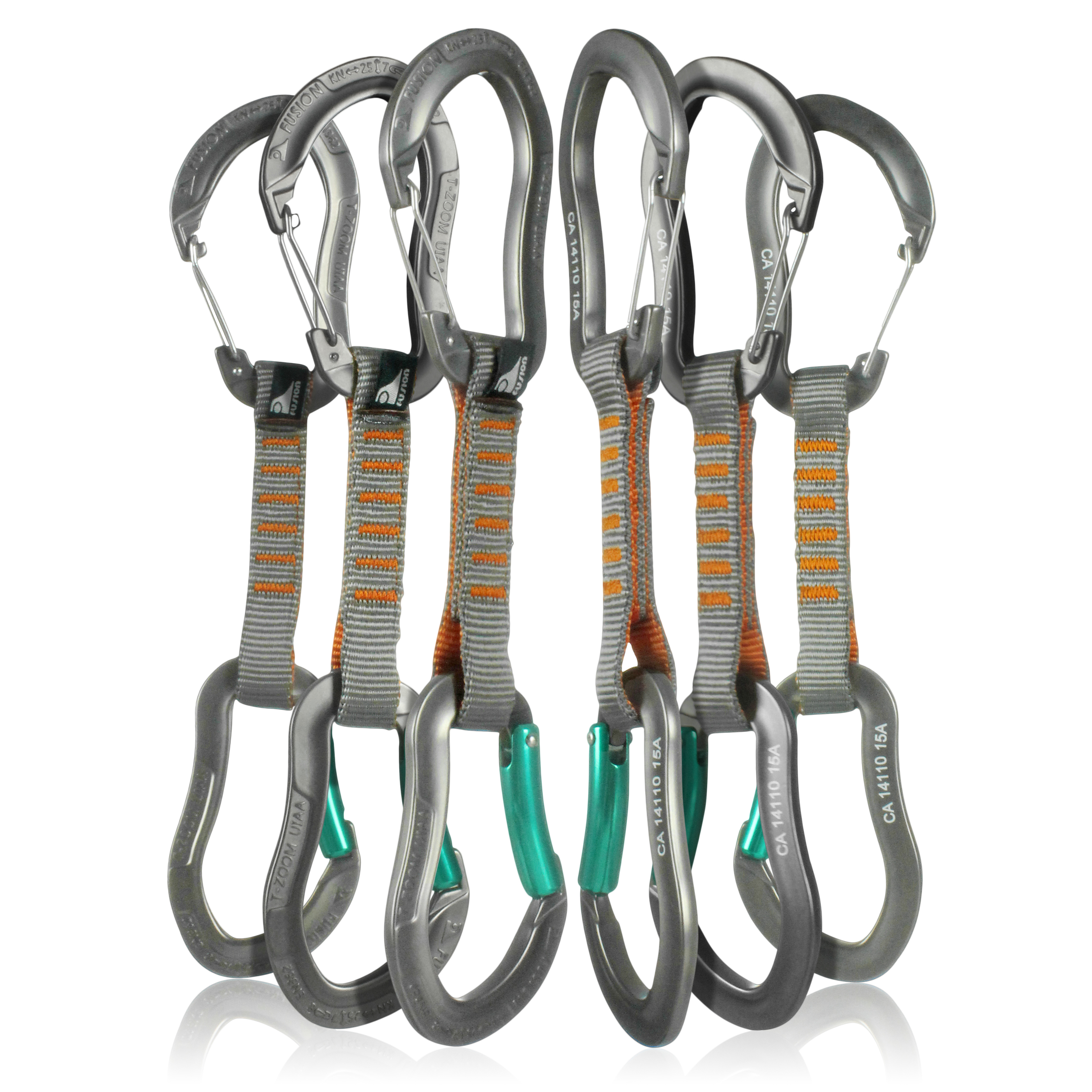 Fusion Climb 6-Pack 11cm Quickdraw Set with Techno Zoom Green Bent Gate Carabiner/Techno Zoom Gray Wire Gate Carabiner