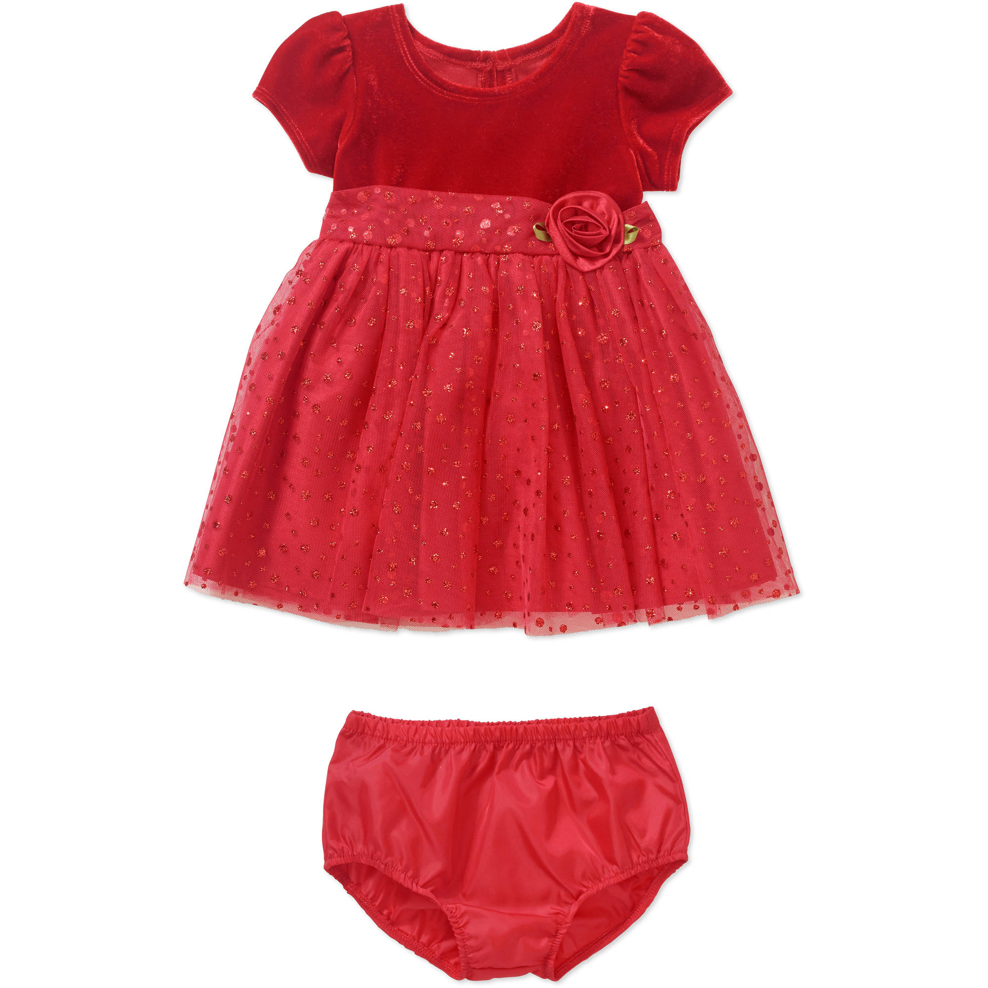 George Newborn Baby Girl Glitter Dot Holiday or Special Occasion Dress