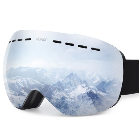 Gonex Ski Goggles OTG Anti-fog Windproof UV Protection Snowboard Goggles with Box for Men &